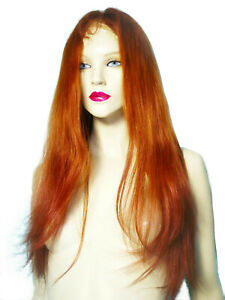 Human-Hair-Full-Lace-Thin-Skin-Wig-Silk-Top-Indian-Remi-Remy-T-Color-Auburn-Red