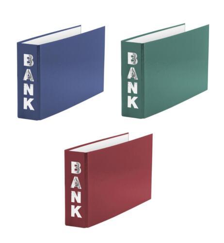 je 1x rot 3 Bankordner 140x250mm blau grün für Kontoauszüge Farbe