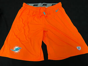 MIAMI-DOLPHINS-GAME-USED-ORANGE-NIKE-PRACTICE-SHORTS-GREAT-CONDITION-ALL-SIZES