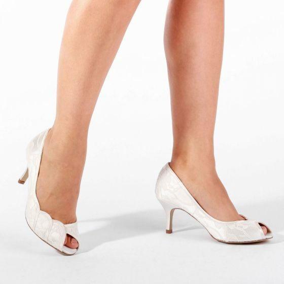 BNWB Pink Paradox Coleen Ivory Lace Mid Heel Peep Toe Shoe UK 3 4 5 6 7 8 9