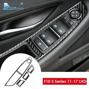 For-BMW-F10-5-Series-LHD-Carbon-Fiber-Interior-Window-Lifter-Switch-Cover-Trim