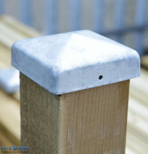 """Pack Of 20 Galvanised Steel Post Caps 84 x 84mm  For 3/"""" Fence Posts X-H120"""