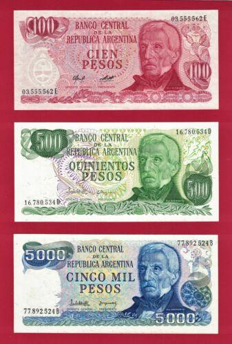 500 Pesos P-303 /& 5,000 Pesos P-305 ARGENTINA UNC 1976-83 NOTES 100 Peso P-302