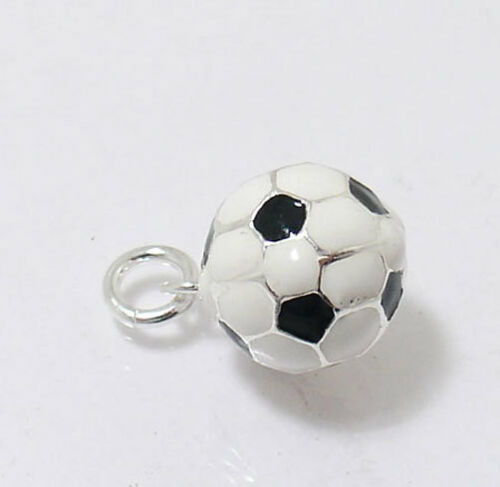 3D Black White Soccer Football Ball Charm Pendant Real 925 Sterling Silver