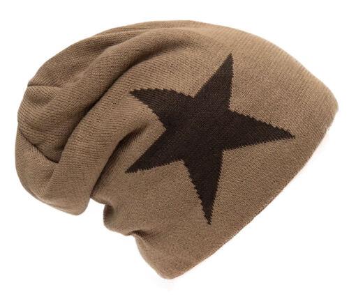 Mütze Beanie Feinstrick Strickmütze mit Stern Wintermütze Unisex Ballonmütze Neu