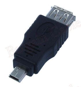 2-Pack-Lot-USB-A-Female-to-Mini-USB-B-5-Pin-Male-Adapter-AUA2-MN51-2PK