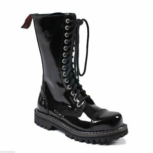 Angry Itch Mens Ladies Black Patent Steel Toe Zip Up Real Leather Combat Boots