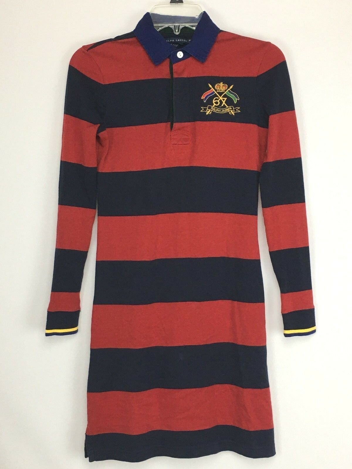 Vintage Ralph Lauren Men's Size XS Red   Navy Long Sleeve Shirt Embroidered Flag