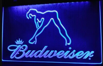 Budweiser LED Neon Bar Sign Home Light up Pub Bud Beer Lager Stripper lady club