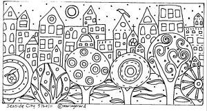 RUG-HOOK-Craft-PAPER-PATTERN-Seaside-City-FOLK-ART-PRIMITIVE-Karla-Gerard