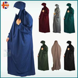 Overhead Jilbab One Piece Hijab Abaya Khimar Headscarf Prayer Dress Set Niqab Ebay