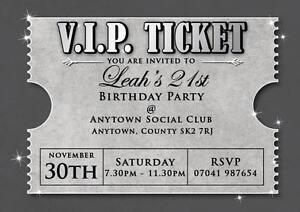 birthday invitations 18th 21st 30th silver v i p ticket inc