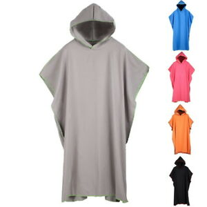 Unisex Mens Changing Robe Towel Bath Hooded Beach Towel Poncho Bathrobe Towel