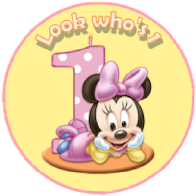 DISNEY Mini Mouse Thanks For Coming Birthday Party Sweets 35 Stickers ! 37mm
