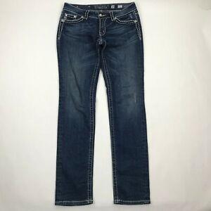 Miss-Me-Women-JP60145K-4-Skinny-Dark-Wash-Flap-Pocket-Jeans-sz-30-Actual-32x34