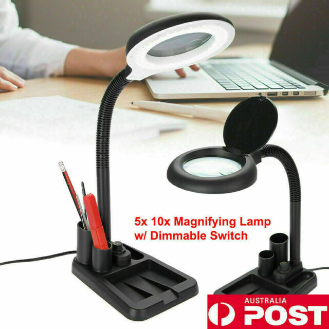 Dimmable Magnifying Crafts Glass Desk Lamp With 5/10X Magnifier & 36LED Light