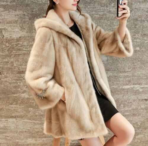 Lang Fur Faux Hooded Outwear Coats Kvinder Vinter Warm Casual Sleeveløs Fit 4wqw5YXO