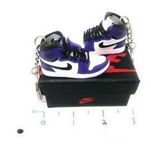 Hand Painted Retro OG Pair of 3D Mini Shoe Keychains with Box Court Purple White