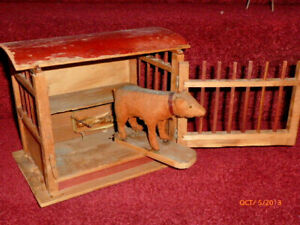 Antique-1890-Bear-in-Wood-Cage-Pip-Squeak-Toy-Teddy-Bear