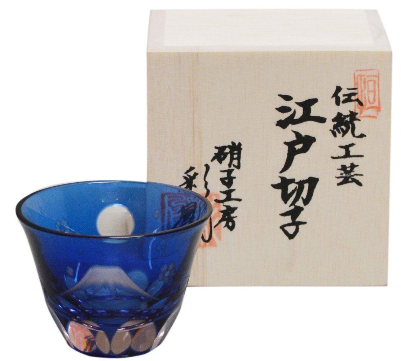 Japan Traditional Handicrafts EDO KIRIKO Sake Glass Cup MT Fuji And Sakura New