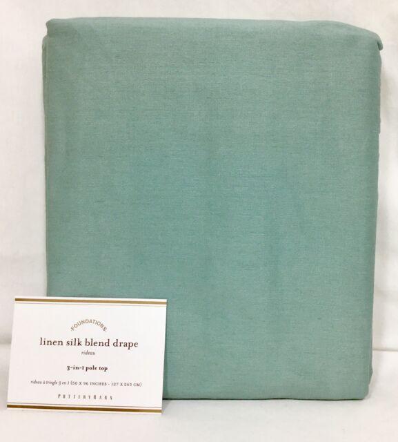 """1 Pottery Barn Blue Dawn Linen Silk Blend 96"""" Curtain"""