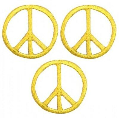"""Green 1/"""" 3-Pack, Iron on Mini Peace Sign Patch Applique"""
