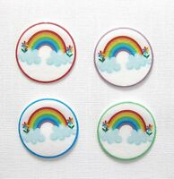 PRE CUT 12 EDIBLE RICE PAPER WAFER CARD RAINBOW PARTY CAKE CUPCAKE TOPPERS