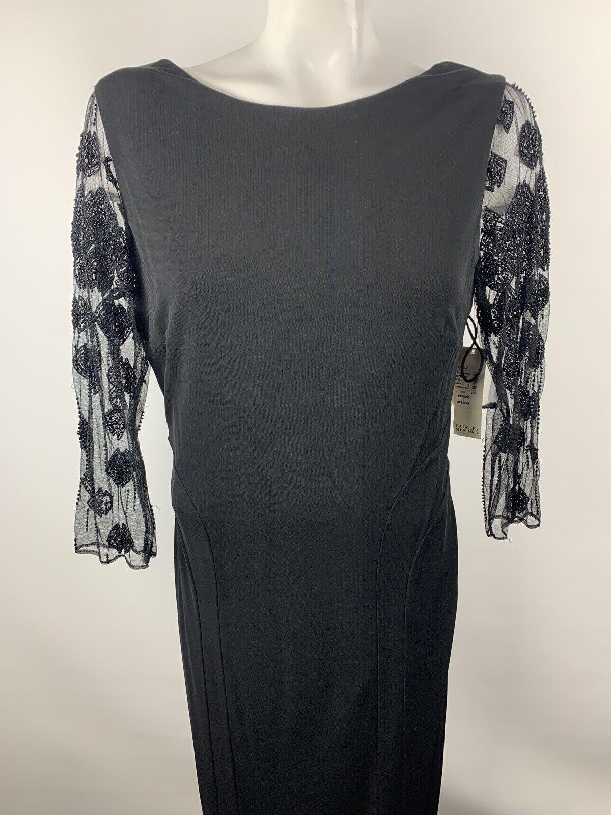 Badgley Mischka Womens Sz 12 Black Long Sleeve Beaded Cocktail Party Dress