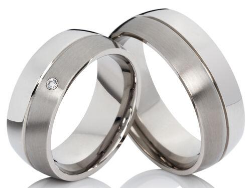 2 Ringe Trauringe Eheringe Verlobungsringe Edelstahl m gratis Gravur /& 1 Diamant