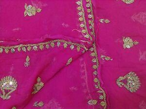 Om-Vintage-Dupatta-Chiffon-Hand-Beaded-Zardozi-Pink-Stole-Scarves-Stole-XAD1236