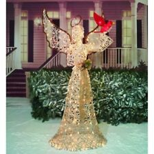"70"" Life Size Lighted Angel & Cardinal Christmas Holiday Yard Decor"