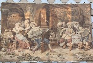 """wall hanging tapestry made in france bar scene playing instrument 25""""X39"""""""