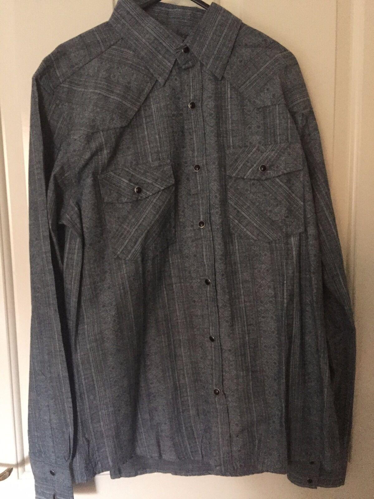 Men's bluee Denim Western Shirt With Aztec Print Design In Size Medium