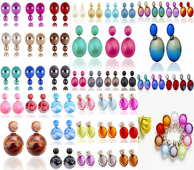 New Mixed Style Women Charm Fashion Double Sided Pearl Ball Earrings Studs Ear
