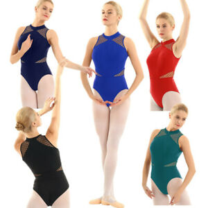 Women-Girls-Ballet-Leotard-High-Neck-Mesh-Gymnastics-Bodysuit-Gym-Dance-Costume