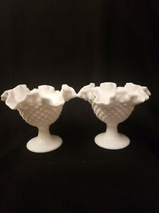 2-Fenton-Milk-Glass-Hobnail-Pedestal-Compote-Candle-Holders-LOT-PAIR