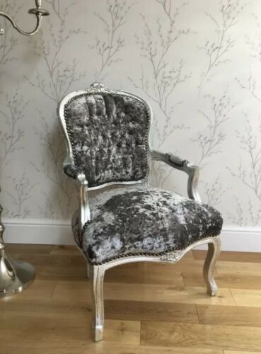 French Louis Style Shabby Chic Chair Grey  Crushed Velvet Silver Frame Diamantes