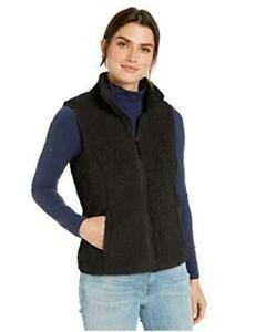Essentials-Women-039-s-Polar-Fleece-Lined-Sherpa-Vest-Black-Size-Large-4XPJ