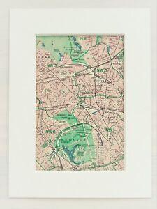 Vintage 1940s London Map Mounted Colour North West Regents Park