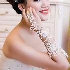 White Bridal Wedding Lace Fingerless Gloves Elbow Length Rhinestone Accents