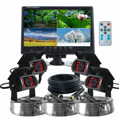 "9/"" Quad Split Screen Car Monitor RV Truck Trailer Backup Rear View Camera System"