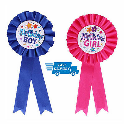 Happy Birthday Boys//Girls Badge Blue Pink Deluxe Ribbon Safety Pin UK Seller