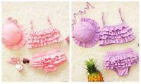 3pcs Baby Toddler Girls Kids Swimwear Leopard Bikini Swimsuit + Skirt + Hat sets