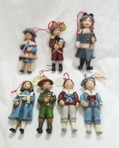 Vintage-Disegni-da-Sondra-1981-Dipinto-a-Mano-Bambini-Ornamento-Natale-Set-di-7