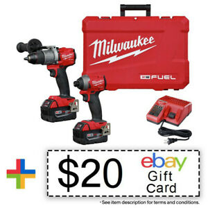Milwaukee M18 FUEL Hammer Drill & Impact Driver 2997-22 New + $20 eBay Gift Card
