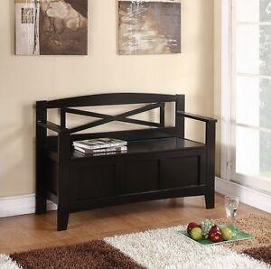 Image Is Loading NEW Entryway Black Wood Storage Bench Seat Foyer