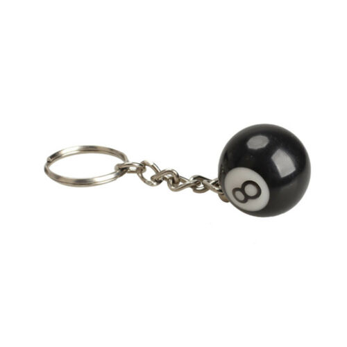 2Pcs de Billard Pool Keychain Snooker Table Ball Porte-clés cadeau Lucky NO.8 Keychain
