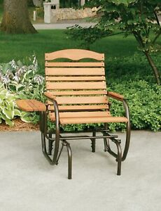 Wood Country Glider Chair Outdoor Patio Garden Front Porch
