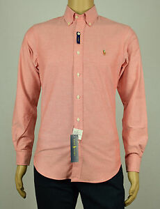 65effbeb21436 Polo Ralph Lauren Mens Orange White Slim Fit Stretch Oxford Button ...