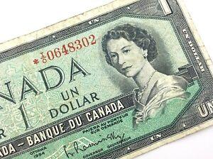 1954-Canada-1-Dollar-Circulated-IO-Replacement-Beattie-Rasminsky-Banknote-R238